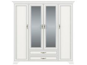 "Белый четырёхдверный шкаф ""Tiffany"" с зеркалами"