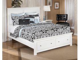 """Кровать двуспальная c ящиками в белой цветовой гамме """"Bostwick Shoals"""""""