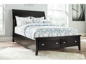 """Кровать с ящиками из древесины лиственных пород  в черном цвете """"Braflin"""""""