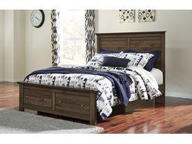 """Кровать двуспальная с ящиками из шпона ореха в классическом дизайне """"Burminson"""""""
