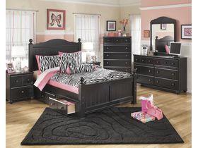 """Кровать с ящиками в черной цветовой гамме """"Jaidyn"""""""