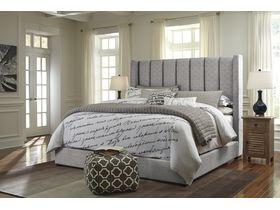 """Кровать  с мягким изголовьем в серой цветовой гамме  """"Kasidon"""""""
