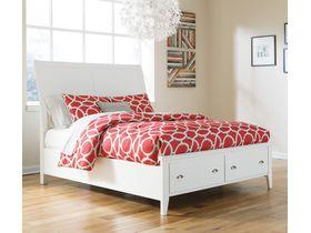 """Кровать с ящиками из древесины лиственных пород  в белом цвете """"Langlor"""""""