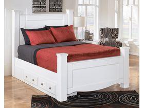 """Кровать двуспальная """"Weeki"""" с ящиками в белом цвете"""
