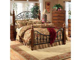 """Кровать  двуспальная в стиле кантри c декоративным изголовьем """"Wyatt"""""""
