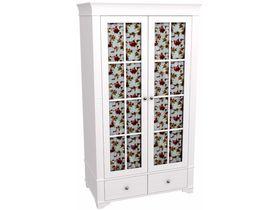 """Шкаф 2х дверный со стеклянными дверями в белом цвете из коллекции """"Бейли"""""""
