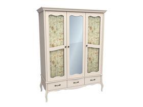 Шкаф 3-х дверный с 2-мя стеклянными дверями и зеркалом