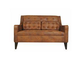 Двухместный диван из замши и массива березы