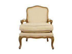 Кресло из массива дуба с льняной обивкой