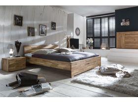 """Кровать из массива рустикального дуба  в древесном цвете c изголовьем  """"Sava"""""""