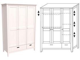"""Шкаф 3-дверный в светлой цветовой гамме из массива сосны """"Сиело"""""""