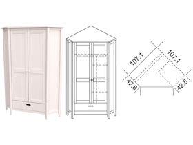 """Шкаф 2-дверный угловой в белом цвете из массива сосны """"Сиело"""""""