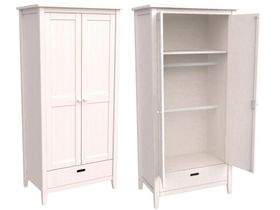 """Шкаф 2-дверный из массива сосны в белом цвете  """"Сиело"""""""